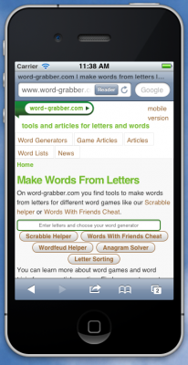 word-grabber.com on iPhone