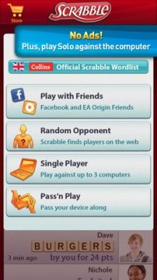 You can play Scrabble online and offline