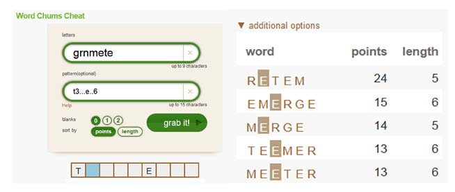 a word chums game example using our pattern field