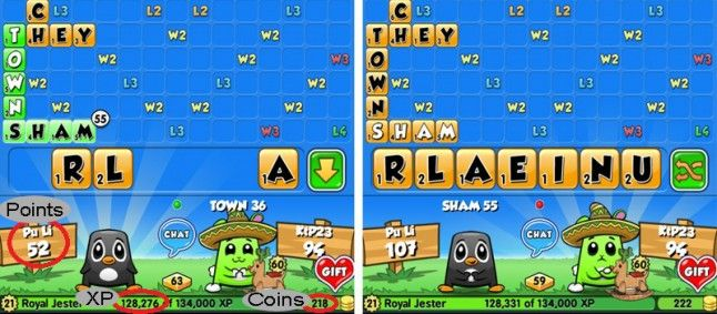 As you can see in my example: I played the word SHAM and used a W3 and L4 bonus square. I will get 55 points for this and also 55 XP. But unfortunately SHAM is only worth 4 coins!
