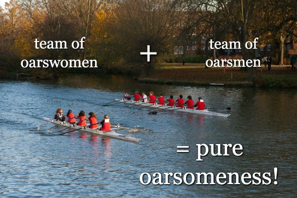 "According to Wikipedia, the OCTAD or EIGHT that form a heavyweight rowing crew either consists of male athletes with an average height of 198 cm (6'6"") weighing approximately 102 kg (225 lb) with about 7% body fat or female athletes around 186 cm (6'1"") and (somewhat) lighter than their male counterparts."